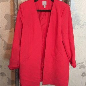 Halogen long open front blazer Red L EUC